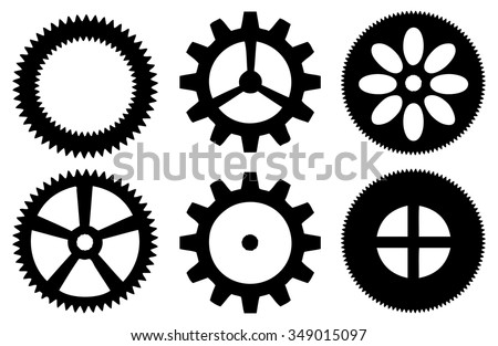 Vector illustration of a set of industrial cogwheel isolated against white.  - stock vector