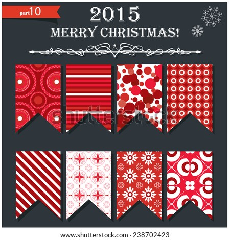 Vector illustration of a set of pennants, flags and garlands in festive red Christmas and New Year style - stock vector