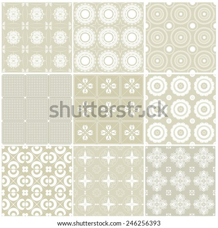 Vector illustration of a set of seamless backgrounds in pastel mild colors for scrap book, gift paper and other design - stock vector