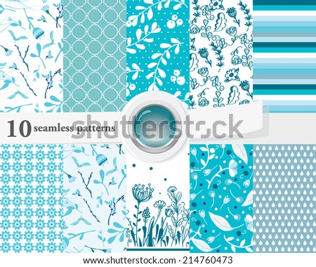 Vector illustration of a set of seamless patterns and backgrounds in contrast colors. - stock vector