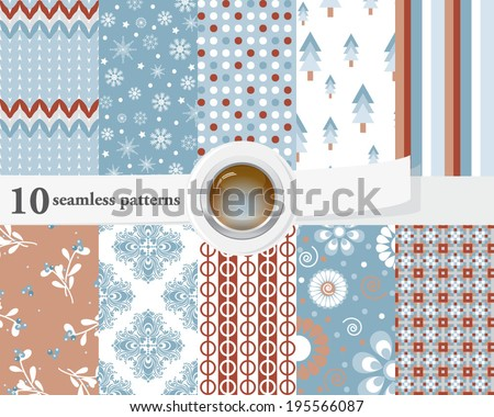 Vector illustration of a set of seamless patterns and backgrounds in tender blue and brown colors, romantic, chistmas mood.   - stock vector