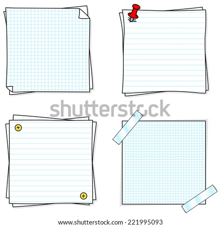 vector illustration of a set of several note papers - stock vector