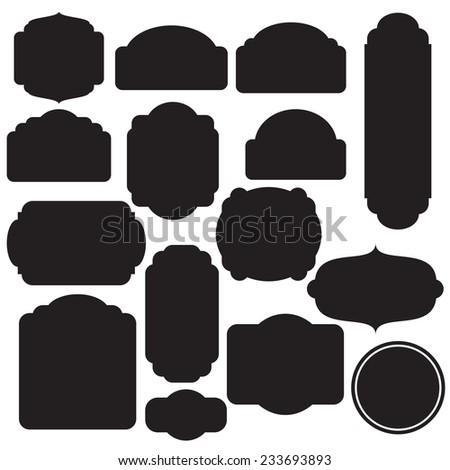 Vector illustration of a set of simple blank tags, labels, frames for scrapbook and design - stock vector