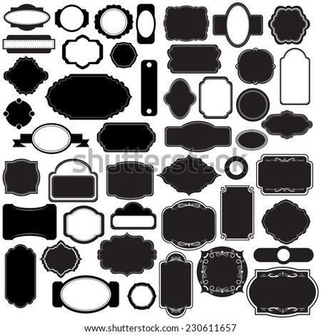 Vector illustration of a set of simple blank tags, labels, frames for scrapbookand design - stock vector