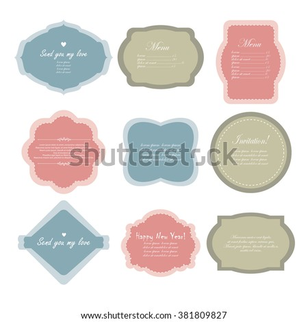 Vector illustration of a set of simple tags, labels, frames for scrapbook and design - stock vector