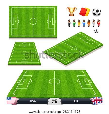 Vector Illustration of a set of Soccer Fields in Four Different Positions with Icons for Your Sports Apps or other Projects. Isolated on white background. - stock vector