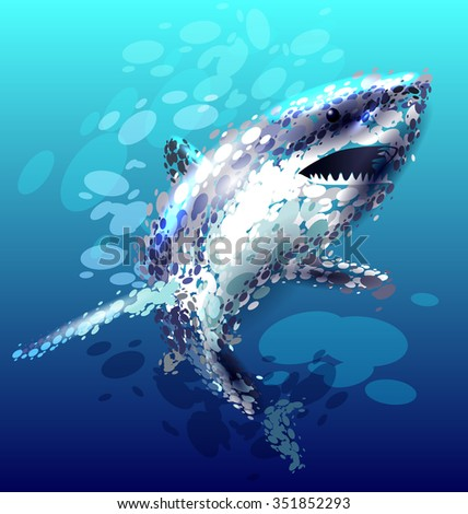 Vector illustration of a shark. - stock vector