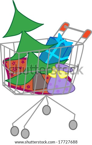 Vector Illustration of a Shopping cart filled with Christmas tree and presents - stock vector