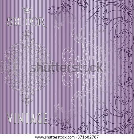 Vector illustration of a SILVER lace pattern or Baroque, Victorian style.  Luxury design with space for text.  For wedding invitations, greeting cards.   - stock vector