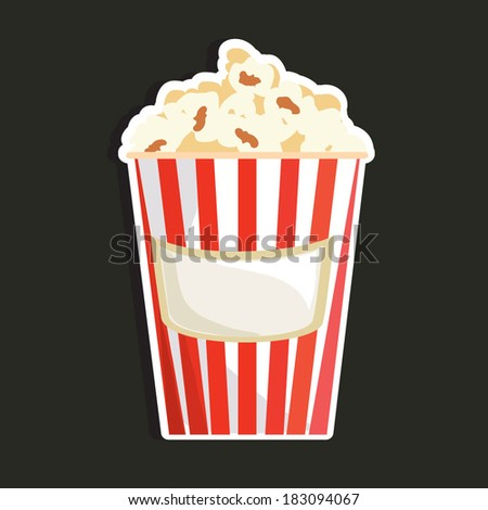 Vector illustration of a simple bright colored popcorn bucket  - stock vector