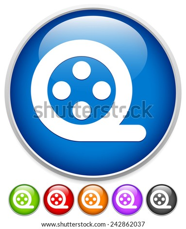 Vector illustration of a simple film reel icon in several colors - stock vector