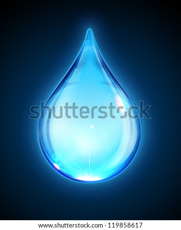 Vector illustration of a single blue shiny water drop isolated on dark background. - stock vector