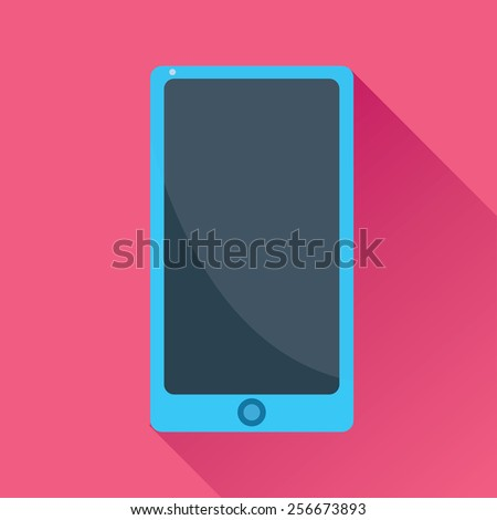 Vector illustration of a single touch screen smart phone flat icon in pink square background with diagonal shadow - stock vector