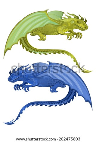 Vector illustration of a sitting dragon with wings and tail. Set of two green and blue - stock vector