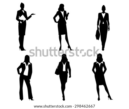 Vector illustration of a six businesswomen silhouettes - stock vector