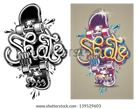 vector illustration of a skate board with graffiti,background - stock vector