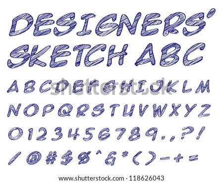 Vector illustration of a sketched alphabet numbers and symbols doodles - stock vector