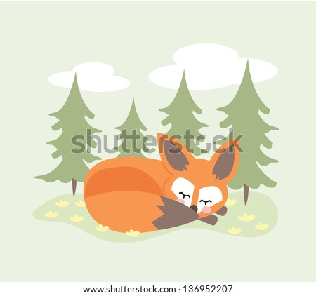 Vector illustration of a sleeping fox in a forest on a light green background. - stock vector