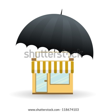 Vector illustration of a small store covered with umbrella. - stock vector