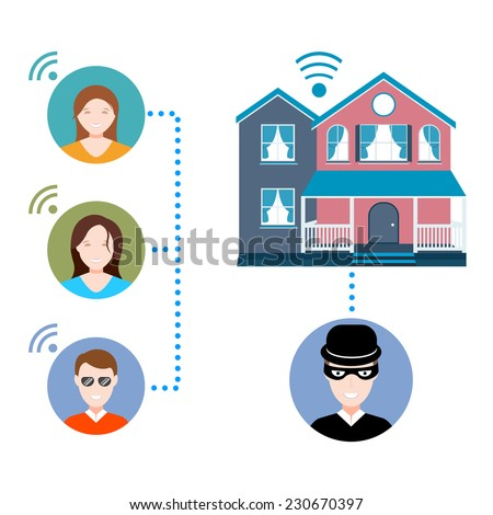 Vector illustration of a smart home on white isolated background. Modern cottage with security system - stock vector. - stock vector