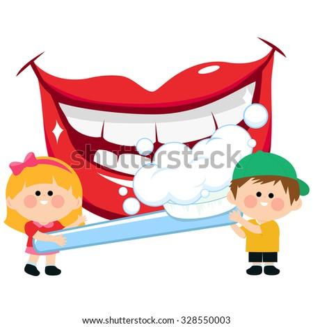 Kids Brushing Teeth Stock Vectors & Vector Clip Art ...