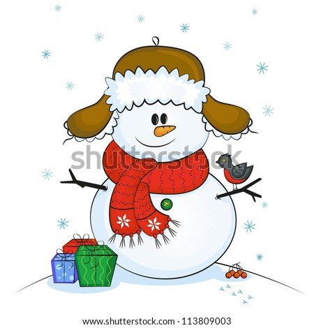 Vector illustration of a smiling snowman with small bird - stock vector