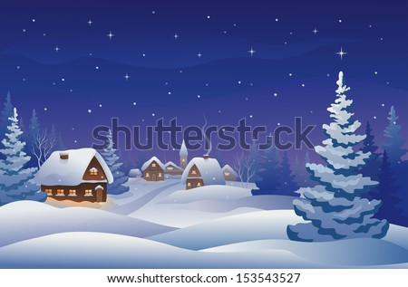 Vector illustration of a snowy Christmas eve village - stock vector