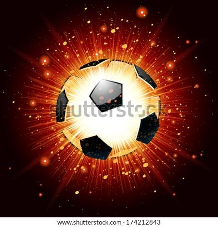 Vector illustration of a soccer ball explosion - stock vector