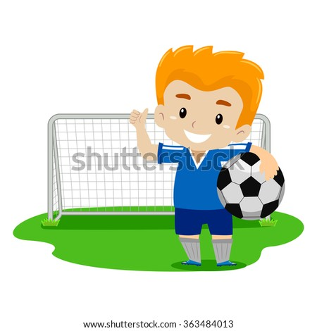 Vector Illustration of a Soccer Player waving his Hand - stock vector