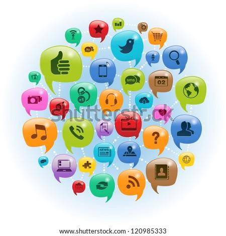 Vector Illustration of a social media icons in talk bubbles.  transparencies. - stock vector