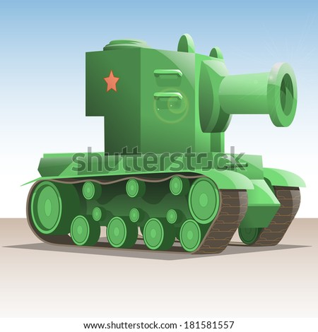 Vector illustration of a Soviet tank. - stock vector