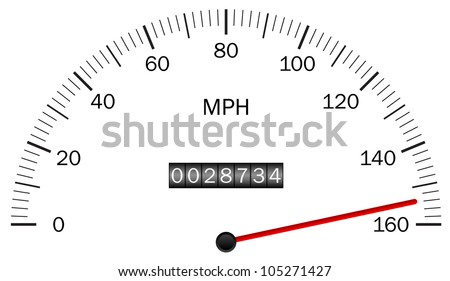 Vector illustration of a speedometer - stock vector