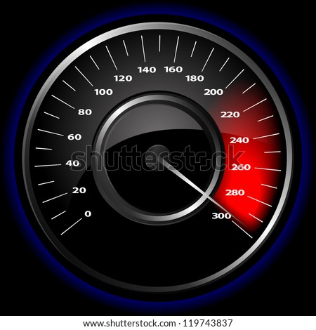 Vector illustration of a speedometer over a black background - stock vector