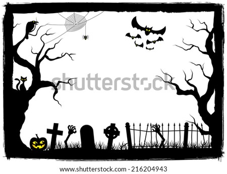 vector illustration of a spooky halloween background - stock vector