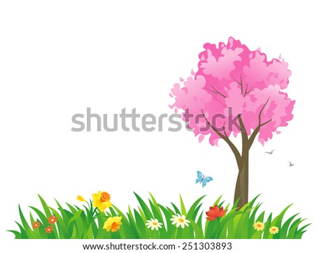 Vector illustration of a spring scene with a pink tree - stock vector