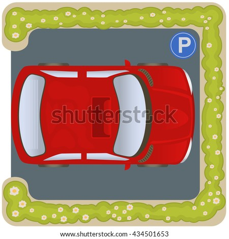 Vector illustration of a square car parking icon, top view - stock vector