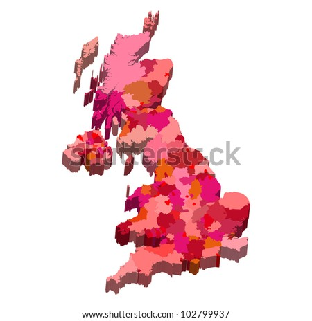 Vector illustration of a state map from England - stock vector