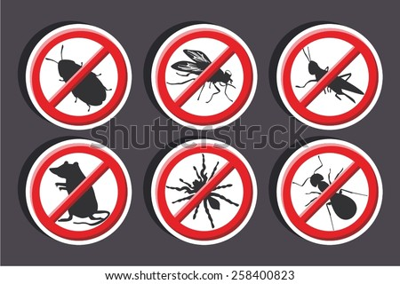 Vector illustration of a stickers set of isolated -  No vermin Sign - stock vector