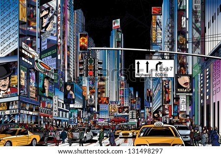 Vector Illustration of a street in New York city at night - stock vector
