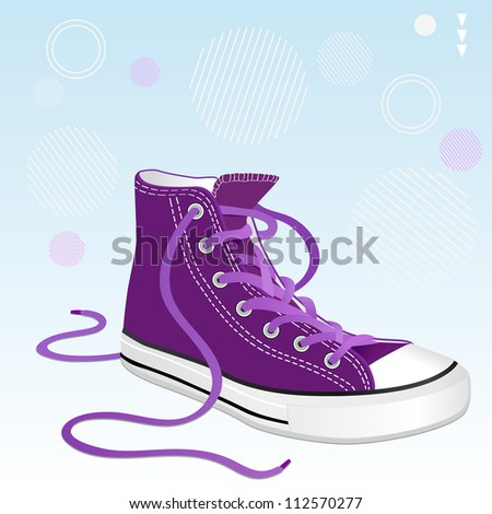 Vector illustration of a stylish shoe lilac color for design - stock vector
