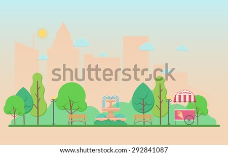 Vector illustration of a summer city park - stock vector