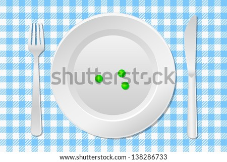 vector illustration of a table laid with a diet plate peas on a checkered tablecloth - stock vector