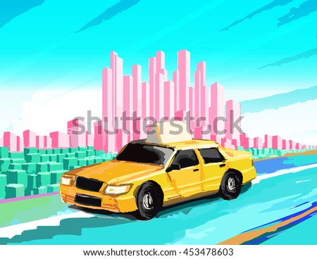 Vector illustration of a taxi cab with urban background - stock vector