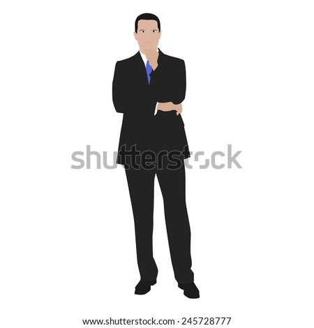 Vector illustration of a thinking man in the gray suit. At work - stock vector