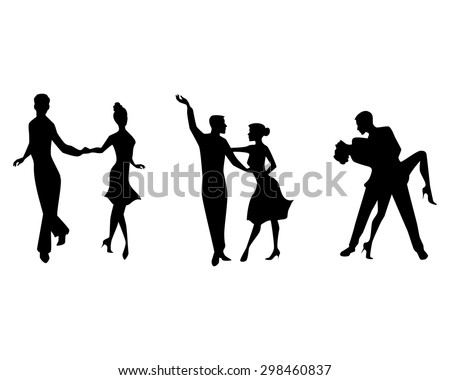 Vector illustration of a three couples dancing - stock vector