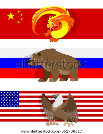 Vector illustration of a three different flags - stock vector