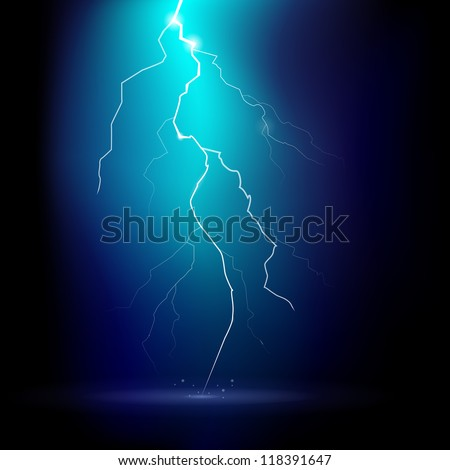 Vector illustration of a thunder storm at night - stock vector