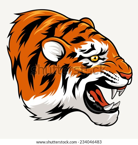Vector illustration of a tiger head. Suitable as a tattoo or sport team mascot - stock vector