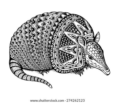 Vector illustration of a totem animal/tattoo - armadillo - in graphic black and white style - stock vector