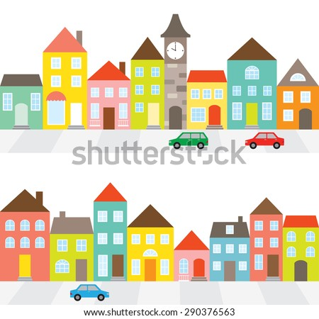 Vector illustration of a town scene with row of houses along the street and cars.  - stock vector